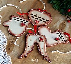 Dekorácie - Sada vianočných ozdôb srdiečkové - 11324411_