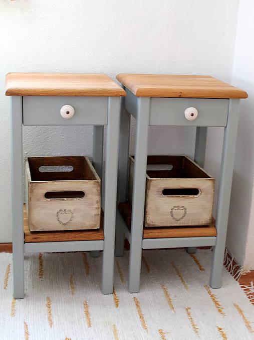 2 Stolíky so šuflíkom /cena za sadu 2 ks/ - DUB + šedá