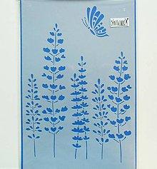 Farby-laky - Šablóna - 20x30 cm, motýľ, tráva, lúka - 11321215_