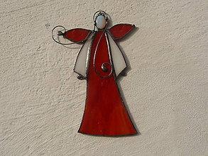 Dekorácie - Vitrážový anjelik s opalitom (Červený) - 11321862_