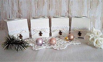 Svietidlá a sviečky - sada 4 ks drevených svietničkov s anjelikom - 11321972_
