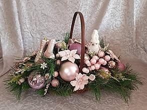 Dekorácie - vianočná dekorácia košík ružový 48 cm - 11321719_