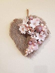 Dekorácie - vianočné srdce ružové 30 cm - 11321778_