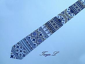 Doplnky - folková kravata - geometrický vzor - 11323557_