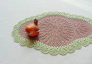 Úžitkový textil - Háčkovaná dečka Hnedo-zelená - 11321832_