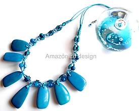Náhrdelníky - Tagua fragmento (azul) - 11324434_