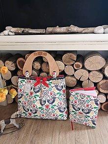 "Kabelky - Folk kabelka s drevenými rúčkami s gravírom ❤ ""ZAĽÚBENÉ VTÁČIKY"" - 11322521_"