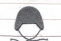 Detské čiapky - Tmavošedá ušianka EXCLUSIVE FINE - 11322253_