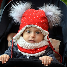 Detské súpravy - Zimný set červený s dvoma brmbolcami - 11324910_