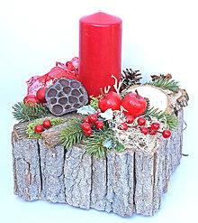 Dekorácie - Vianočný svietnik v dreve - 11321402_