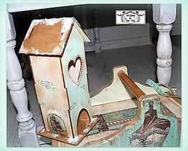 Dekorácie - Zasnežený domček mentolkový:) - 11323775_