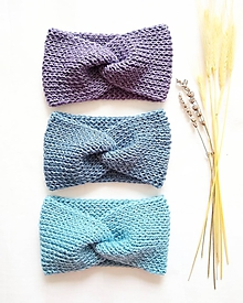 Čiapky - Twist čelenka (ľadová) - 100% nórska vlna (Džínsová modrá) - 11321253_