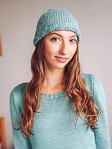 Čiapky - Pletená čiapka strieborná mohérka - 11323774_