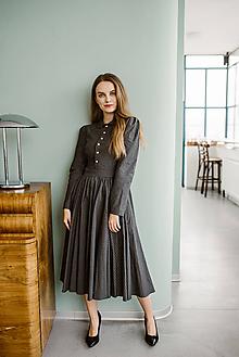 Šaty - Bavlnené prúžkované šaty vo vintage štýle - 11324740_