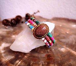 Náramky - Náramok s indiánskym vzorom a slnečným kameňom, chirurgická oceľ - 11322633_
