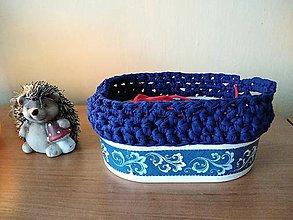 Košíky - Modrý ornament - 11328221_