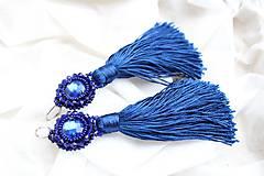 Náušnice - náušnice strapčekové (kráľovsky modré) - 11325371_