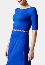 Opasky - Opasok tenší modrý vyšívaný - 11327411_