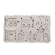 Pomôcky/Nástroje - Silikónová forma, kostol, dom, dedinka, strom, 20,3x11,5 cm - 11326264_