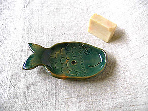 Nádoby - Mydelnička rybia tyrkys - 11328202_