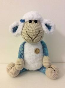 Hračky - bielomodrá ovečka - 11326956_