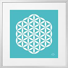 Grafika - mandala - biely kvet života / V RÁME - 11327524_