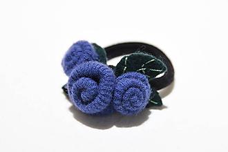 Ozdoby do vlasov - gumka do vlasov - modré ružičky - 11328674_