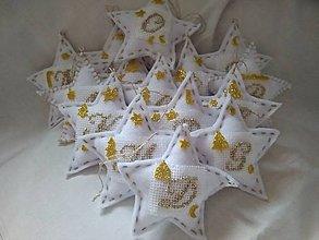 Dekorácie - Biele hviezdičky na stromček - 11328393_