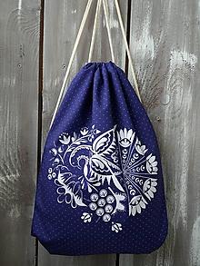 Batohy - Vak s Vajnorským ornamentom modro-biely - 11325168_