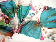 Šály - Hodvábny šál - motýle - 11327470_