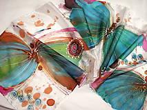 Šály - Hodvábny šál - motýle - 11327471_