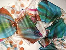 Šály - Hodvábny šál - motýle - 11327472_