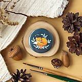 Odznaky/Brošne - Placka se spící liškou (s vlastní ilustrací) - 11331029_