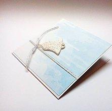 Papiernictvo - Pohľadnica ... zvonivé Vianoce II (bielomodrá) - 11332334_
