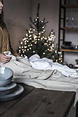 Úžitkový textil - Ľanový obrus béžový - 11332346_