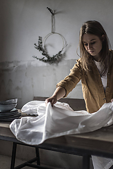 Úžitkový textil - Ľanový obrus biely - 11332290_