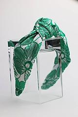 Ozdoby do vlasov - Čelenka biela so zeleným vzorom - 11332762_