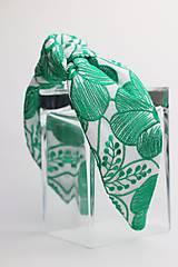 Ozdoby do vlasov - Čelenka biela so zeleným vzorom - 11332766_