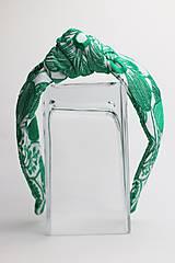 Ozdoby do vlasov - Čelenka biela so zeleným vzorom - 11332768_