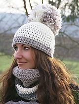 Čiapky - NATURAL WOOL - čiapka s véééľkým brmbolcom - 11330245_