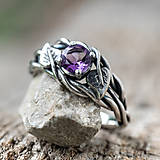 Prstene - Snubáčik lipou ovinutý   (s prírodným ametystom) - 11330986_