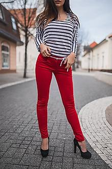Nohavice - Nohavice červené so šnúrkou -predľžená veľkosť pre vysoké ženy - 11333517_