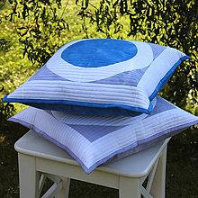 Úžitkový textil - Polštář s modrým kruhem - 11332264_
