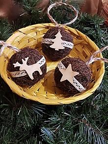 Dekorácie - prírodné vianočné gule  čokoládové s krémovou  krajkou sada 3 kusy - 11331392_