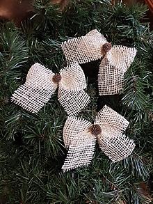 Dekorácie - jutové vianočné mašle na stromček svetlé sada 3 kusy - 11331427_