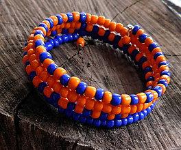 Náramky - náramok oranž a modrá - 11331436_