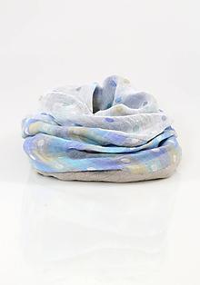 Šály - Trojfarebný štýlový bodkovaný nákrčník z ľanu - 11330651_