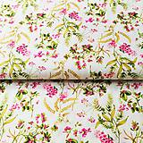 Textil - ružové kvety na smotanovej, 100 % predzrážaná bavlna Španielsko, šírka 150 cm - 11330642_