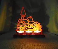 Svietidlá a sviečky - Drevený vianočný svietnik - 11331069_