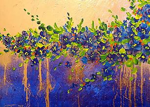 Obrazy - Modré kvety-abstrakt - 11331809_